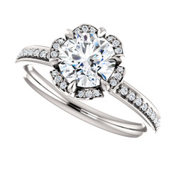 The Grace Forever One Moissanite Solitaire Halo Engagement Ring