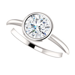 The Lisa Forever One Moissanite Bezel Set Solitaire Engagement Ring