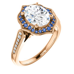 The Ella Ring Series - 2.26CT = 9X7mm Forever One Moissanite Oval Cut & Blue Sapphire Halo Engagement Ring