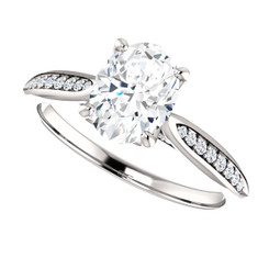 The Winter Ring Series - Forever One Moissanite Oval Cut Solitaire Engagement Ring - Band Included