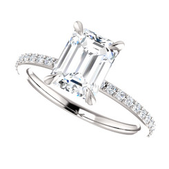 The Charlene NEO Moissanite Emerald Cut & Diamond Solitaire Engagement Ring