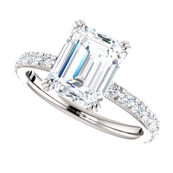 The Beverly NEO Moissanite Emerald Cut & Diamond Solitaire Engagement Ring