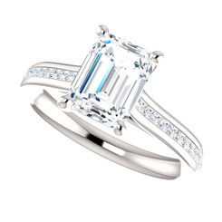 The Bliss Ring Series - 1.75CT NEO Moissanite Emerlad Cut & Diamond Engagement Ring