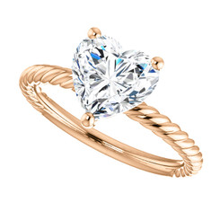 The Darla 8mm = 1.80 NEO Moissanite Heart Shaped Cabled Solitaire Engagement Ring