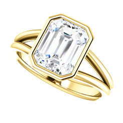 The Lucille 2.45CT NEO Moissanite Emerald Cut Split Shank Engagement Ring