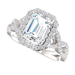 The Scarlett 2.45CT NEO Moissanite Emerald Cut & Diamond Solitaire Engagement Ring