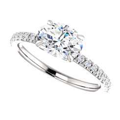 The Ava  - NEO Moissanite 1.50CT Oval Cut East West Engagement Ring w/ Diamond Accents