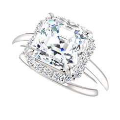 The Caroline 2.20CT = 8mm Forever One Asscher Cut Moissanite Engagement Ring w/ Diamond Halo