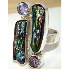.925 Sterling Silver Biwa Mother of Pearl and Amethyst Ring