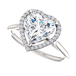 The Lola NEO Moissanite Heart Shaped & Diamond Halo Engagement Ring