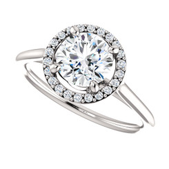 The Lola NEO Moissanite Round Brilliant Cut 1CT & Diamond Halo Engagement Ring