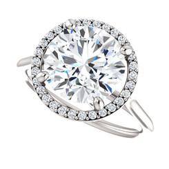 The Lola NEO Moissanite Round Brilliant Cut 3.10CT & Diamond Halo Engagement Ring
