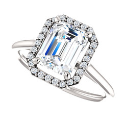 The Lola NEO Moissanite Emerald Cut 1.75CT & Diamond Halo Engagement Ring