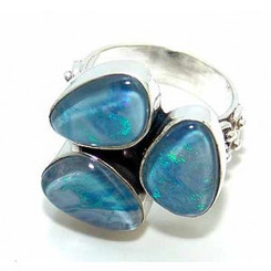 .925 Sterling Silver Blue Fire Opal Ring