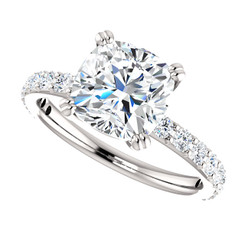 The Beverly 2 Forever One Moissanite 2.40CT Cushion Cut Solitaire Engagement Ring