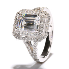 NEO Moissanite 1.75CT Center Emerald Cut with Double Halo and Split Shank
