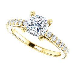 The Naomi  1.10CT NEO Moissanite Cushion Cut & Diamond Engagement Cathedral Style Ring
