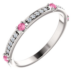 14K White Gold Diamond & Pink Sapphire Wedding Anniversary Band - Stackable