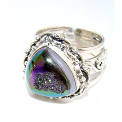 .925 Sterling Silver Coated Druzy Oranate Ring WOW