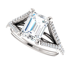 The Olivia NEO Moissanite 1.75CT Center Emerald Cut Split Shank Engagement Wedding Ring with Diamond Accents