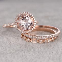 14K Rose Gold Morganite Round 8mm 3CT Center Bridal Engagement Wedding 3 Piece Set
