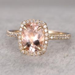 14K Rose Gold Morganite 9X7 Cushion Cut Center Bridal Engagement Ring