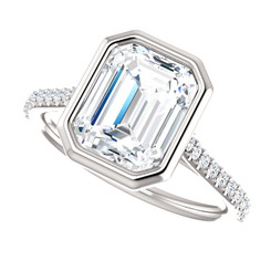 The Addison Ring Series - Bezel Set NEO Moissanite 2.45CT Center Emerald Cut Engagement Wedding Ring with Diamond Accents