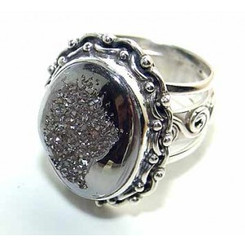 .925 Sterling Silver Coated Druzy Oranate Ring