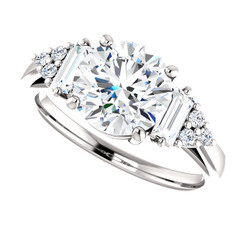 The Brecka Ring NEO Moissanite 1.90CT Center Round Brilliant Cut Engagement Wedding Ring with Diamond Accents