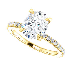 The Sasha Ring - Forever One Moissanite 2.26CT Oval Cut Engagement Ring With Diamond Collar & Accents!