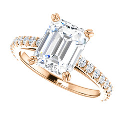 The Grace Ring - 2.45CT NEO Moissanite EF Color Emerald Cut & Diamond Engagement Cathedral Style Ring