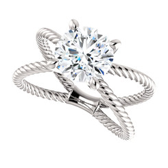 The Jen Ring Series - NEO Moissanite 2CT Center Round Brilliant Cut - SEE VIDEO BELOW