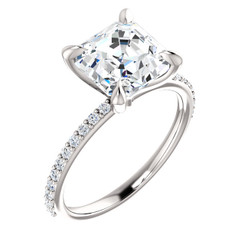 The Charlene Ring Series - Forever One Moissanite Asscher Cut 2.20CT Engagement Ring With VS Diamond Accents