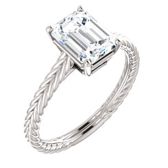 The Beckah Ring Series - NEO Moissanite 1.75CT Center Emerald Cut Woven Solitaire Engagement Ring