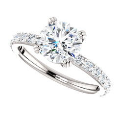 The Beverly NEO Moissanite 1.50CT Round Brilliant Cut & Diamond Solitaire Engagement Ring