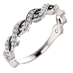 14K White Gold Cross Over Diamond Wedding Anniversary Band - Stackable