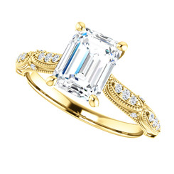 The Liz Ring Series - NEO Moissanite 1.75CT Emerald Cut With Diamond Sides Engagement Milgraine Ring