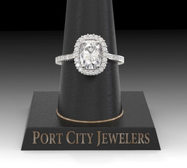 The Brandy Ring - Eternal Moissanite Cushion Cut With Diamond Sides & Halo Engagement Ring