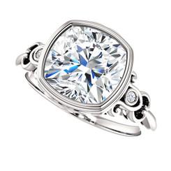 Custom Order For Debbie -- The Debbie Ring Series - Forever One Moissanite Cushion Cut 3.30CT Bezel Set Engagement Ring