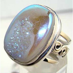 .925 Sterling Silver Druzy Ring Oval