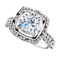 Custom Order For Debbie -- The Debbie Ring Series Forever One Moissanite Cushion Cut 8mm =  2.40CT Engagement Ring  - Platinum