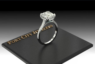 The Micayla Ring Series - Eternal Moissanite Elongated Cushion Cut With Diamond Sides & Halo Engagement Ring
