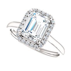 The Lila Ring Series - Eternal  Moissanite 1.75CT Center Emerald Cut EF Color with Diamond Halo - Platinum