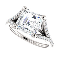 The Bethany Ring Series - Eternal Moissanite 2.30CT Asscher Cut & Diamond Split Shank Engagement Ring - VIDEO BELOW