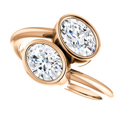 Forever One Moissanite 1.80CTW .90CT Each Oval Cut Bezel Set Two Stone Engagement Ring