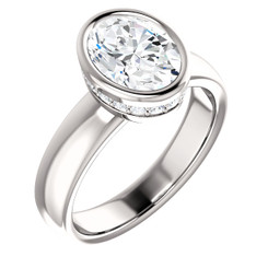 The Tess Ring Series - Eternal Moissanite 2.10CT Round Oval Cut Bezel Set With Diamond Collar Engagement Ring - VIDEO BELOW