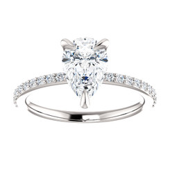 Custom Listing For Brandon - The Charlene 1.50CT NEO Moissanite GH Color Pear Cut & Diamond Solitaire Engagement Ring  - CUSTOM MADE