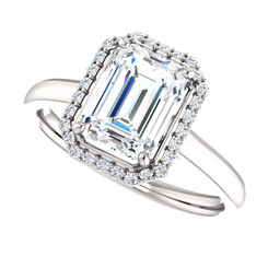 The Georgina Ring Series - Eternal  Moissanite 1.75CT Center Emerald Cut EF Color with Diamond Halo - Platinum