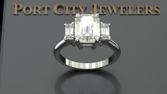 Custom Listing For Christine - Eternal Moissanite 9mm X 7mm Emerald Cut Center 3 Stone Ring