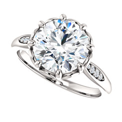 The Dorothy Ring Series - Eternal Moissanite 3CT = 9mm Round Brilliant Cut Engagement Ring